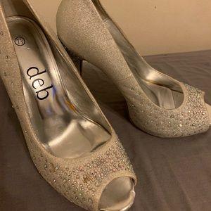 Silver Embelished Deb Stiletto Heels